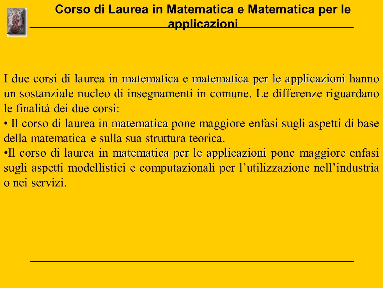 matematicamatematica per le applicazioni I due corsi di laurea in matematica e matematica per le applicazioni hanno un sostanziale nucleo di insegname