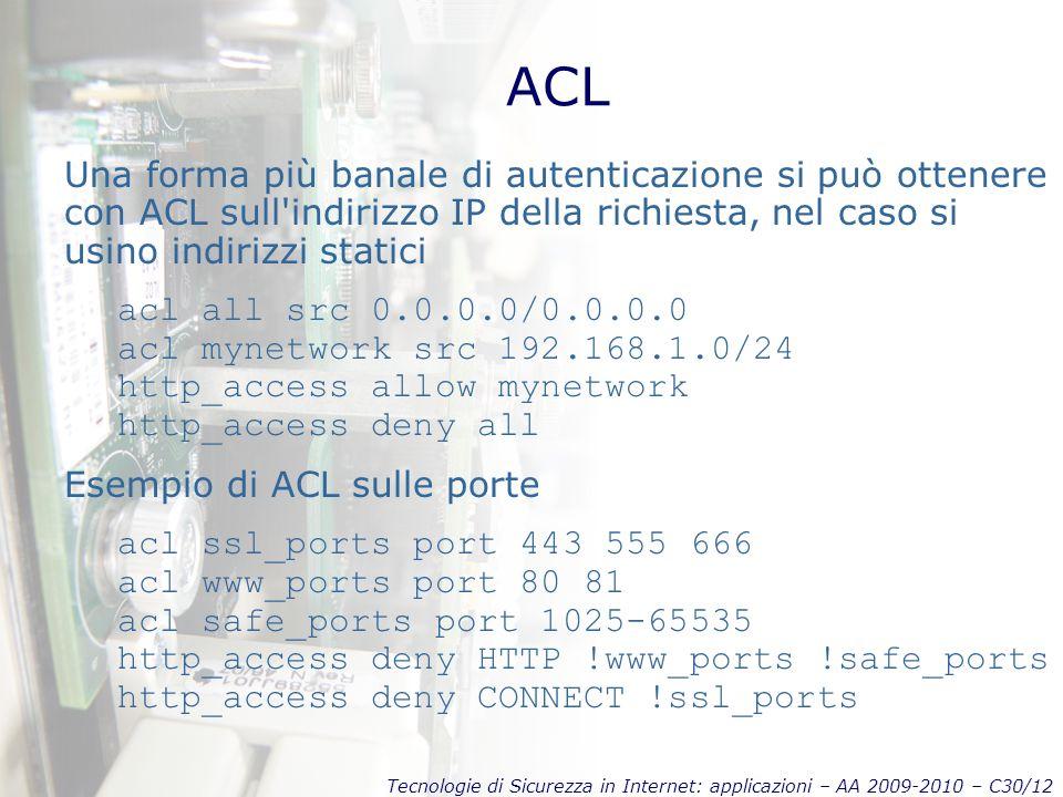 Tecnologie di Sicurezza in Internet: applicazioni – AA 2009-2010 – C30/12 ACL Una forma più banale di autenticazione si può ottenere con ACL sull'indi