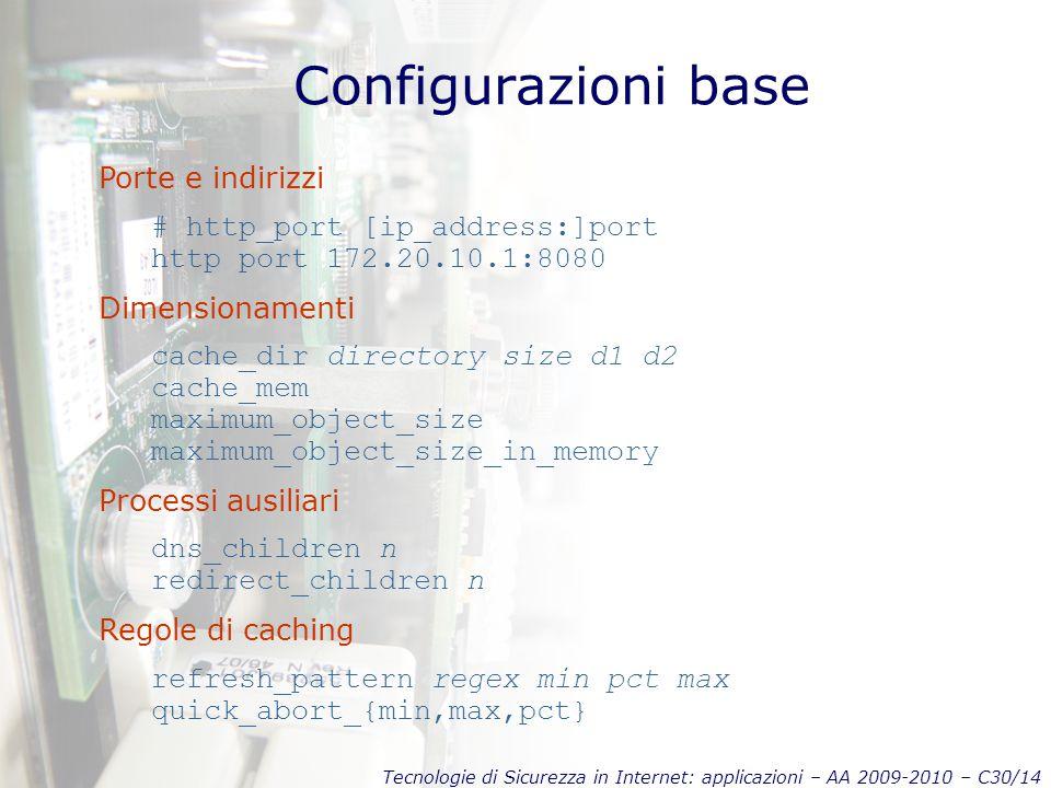 Tecnologie di Sicurezza in Internet: applicazioni – AA 2009-2010 – C30/14 Configurazioni base Porte e indirizzi # http_port [ip_address:]port http por