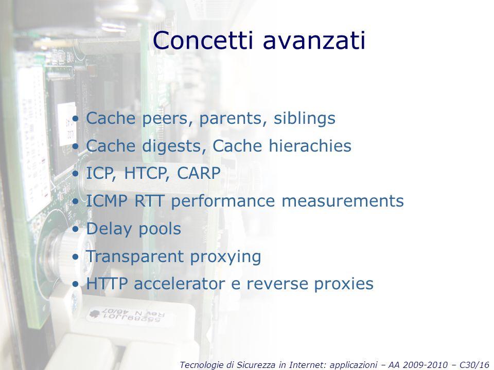 Tecnologie di Sicurezza in Internet: applicazioni – AA 2009-2010 – C30/16 Concetti avanzati Cache peers, parents, siblings Cache digests, Cache hierac