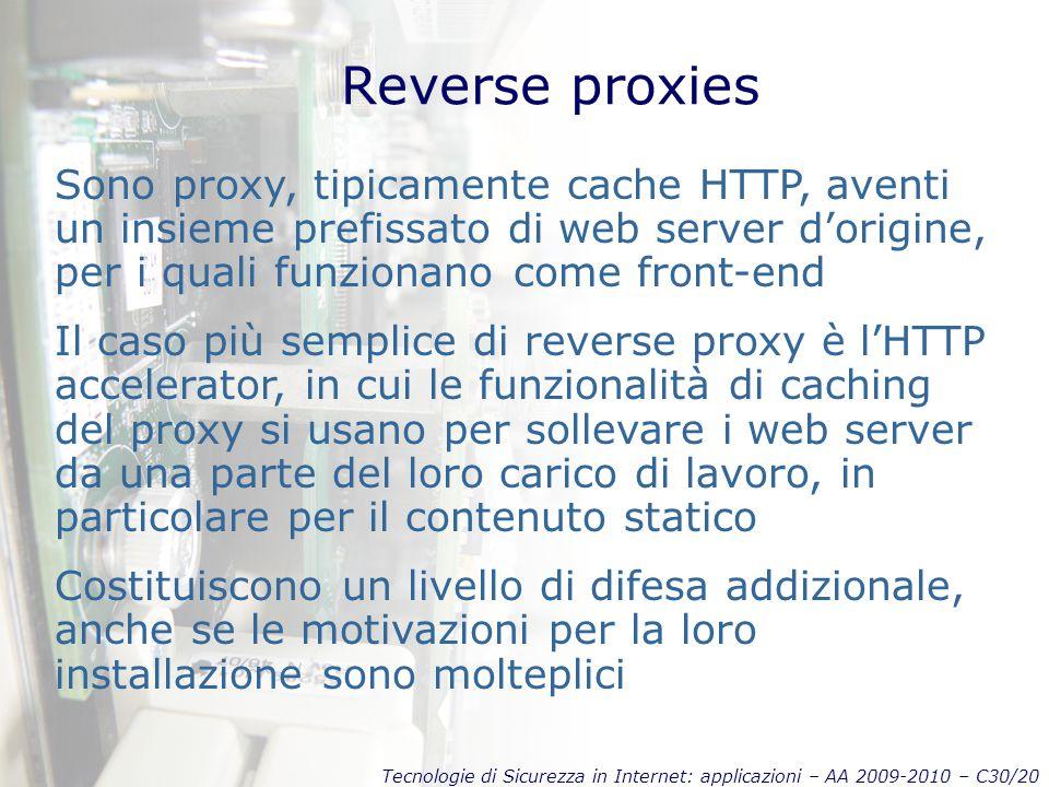 Tecnologie di Sicurezza in Internet: applicazioni – AA 2009-2010 – C30/20 Reverse proxies Sono proxy, tipicamente cache HTTP, aventi un insieme prefis