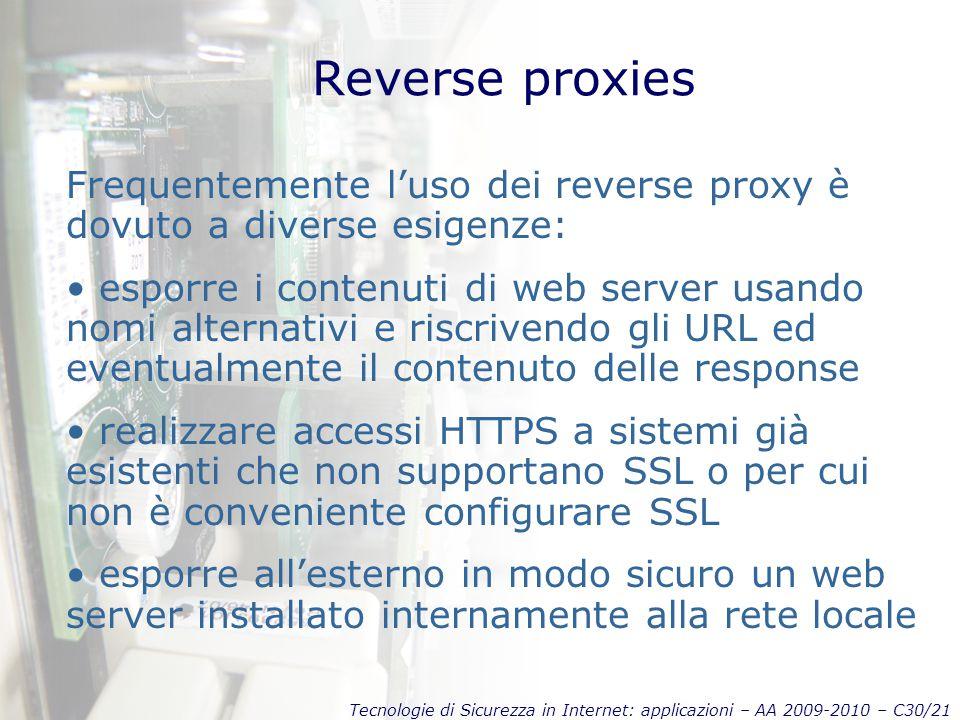 Tecnologie di Sicurezza in Internet: applicazioni – AA 2009-2010 – C30/21 Reverse proxies Frequentemente l'uso dei reverse proxy è dovuto a diverse es