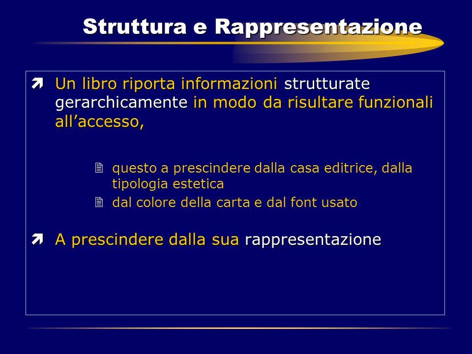 Struttura e Rappresentazione ìUn libro riporta informazioni strutturate gerarchicamente in modo da risultare funzionali all'accesso, 2questo a prescin