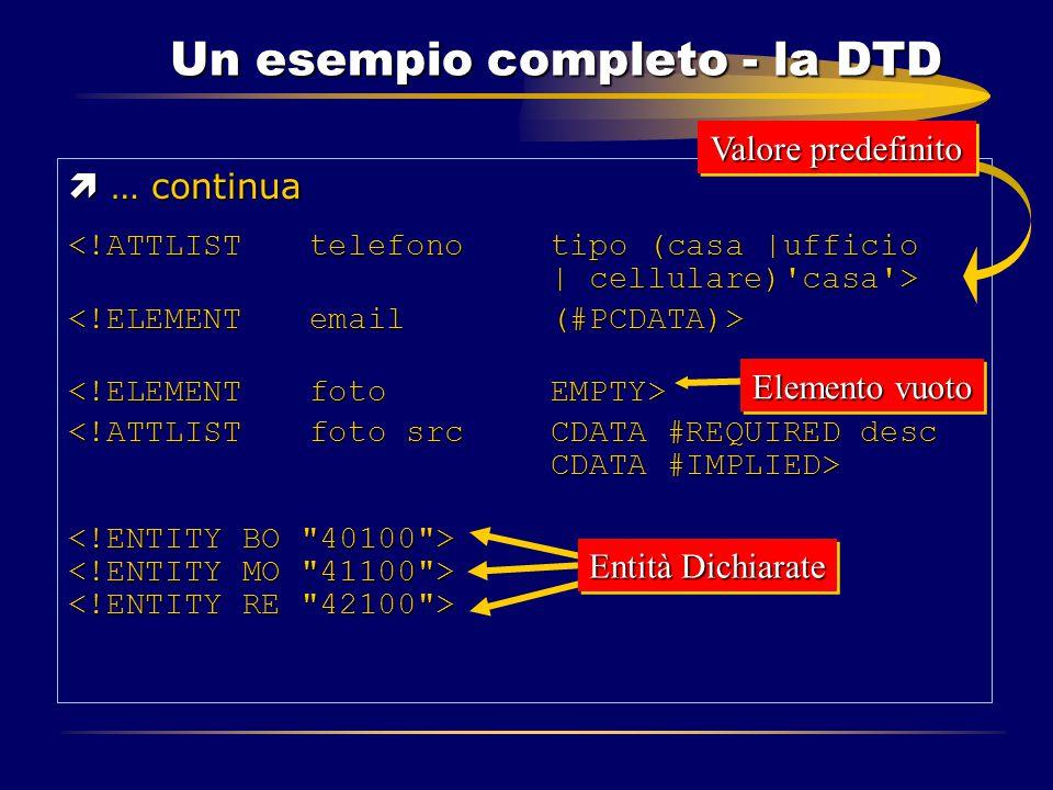 Un esempio completo - la DTD ì … continua Elemento vuoto Valore predefinito Entità Dichiarate