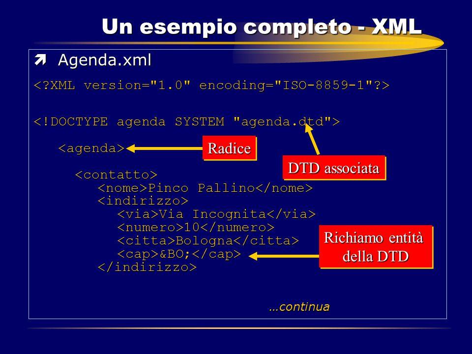 Un esempio completo - XML ìAgenda.xml Pinco Pallino Via Incognita 10 Bologna &BO; …continua Pinco Pallino Via Incognita 10 Bologna &BO; …continuaRadic