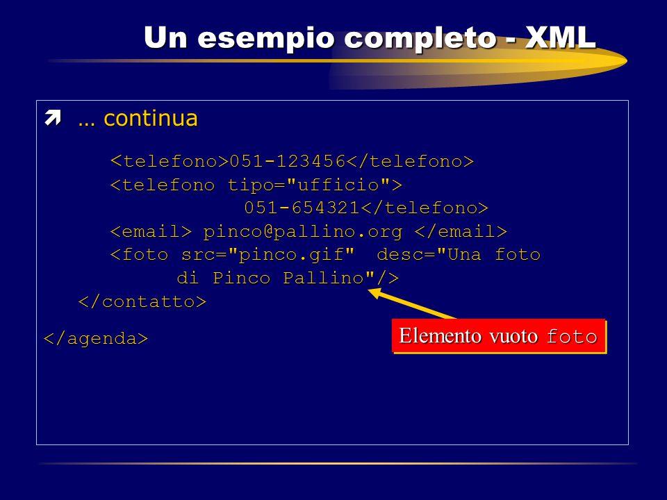 Un esempio completo - XML ì… continua 051-123456 051-654321 pinco@pallino.org 051-123456 051-654321 pinco@pallino.org </agenda> Elemento vuoto foto