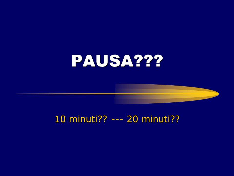 PAUSA??? 10 minuti?? --- 20 minuti??