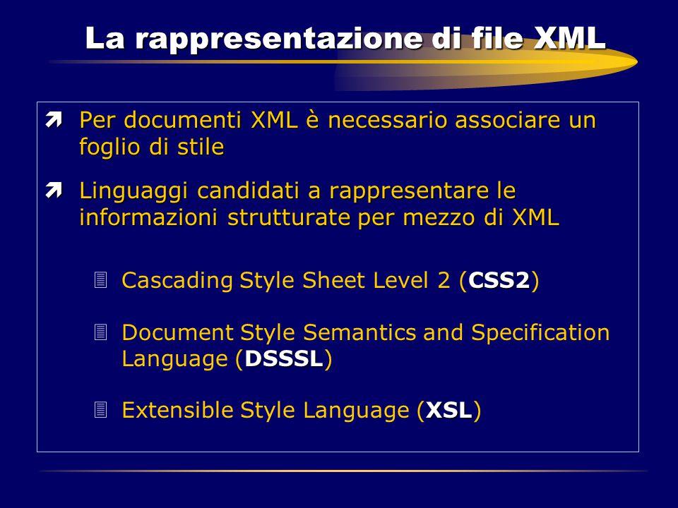 La rappresentazione di file XML ìPer documenti XML è necessario associare un foglio di stile ìLinguaggi candidati a rappresentare le informazioni stru