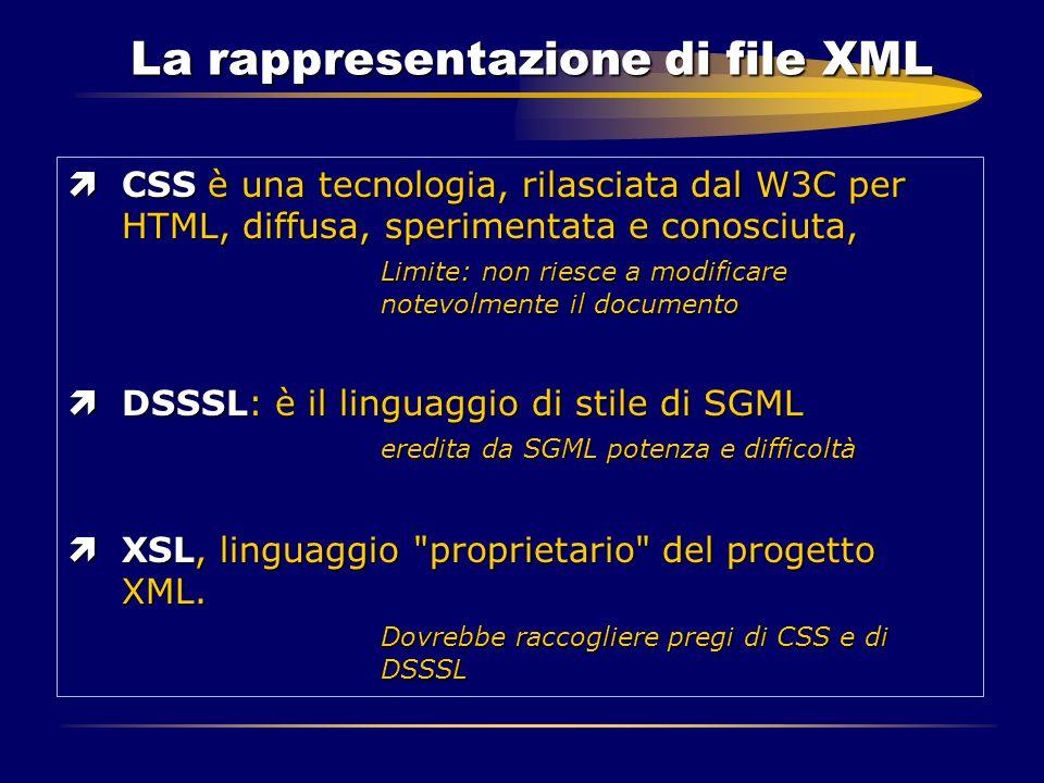 La rappresentazione di file XML ìCSS è una tecnologia, rilasciata dal W3C per HTML, diffusa, sperimentata e conosciuta, Limite: non riesce a modificar