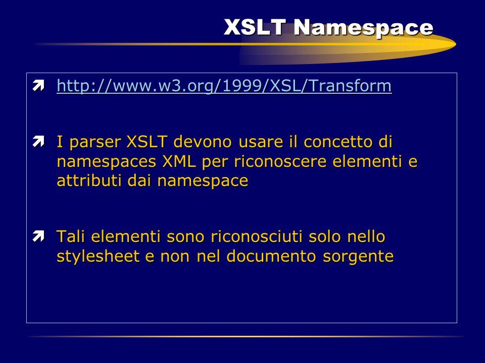 XSLT Namespace ìhttp://www.w3.org/1999/XSL/Transform ìI parser XSLT devono usare il concetto di namespaces XML per riconoscere elementi e attributi da