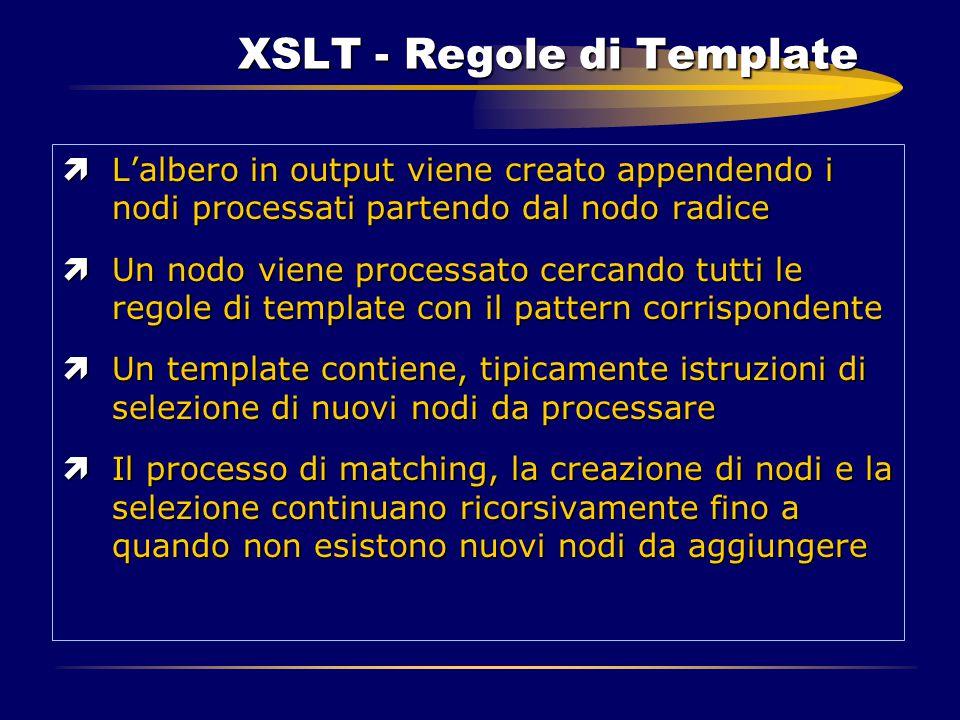 XSLT - Regole di Template ìL'albero in output viene creato appendendo i nodi processati partendo dal nodo radice ìUn nodo viene processato cercando tu
