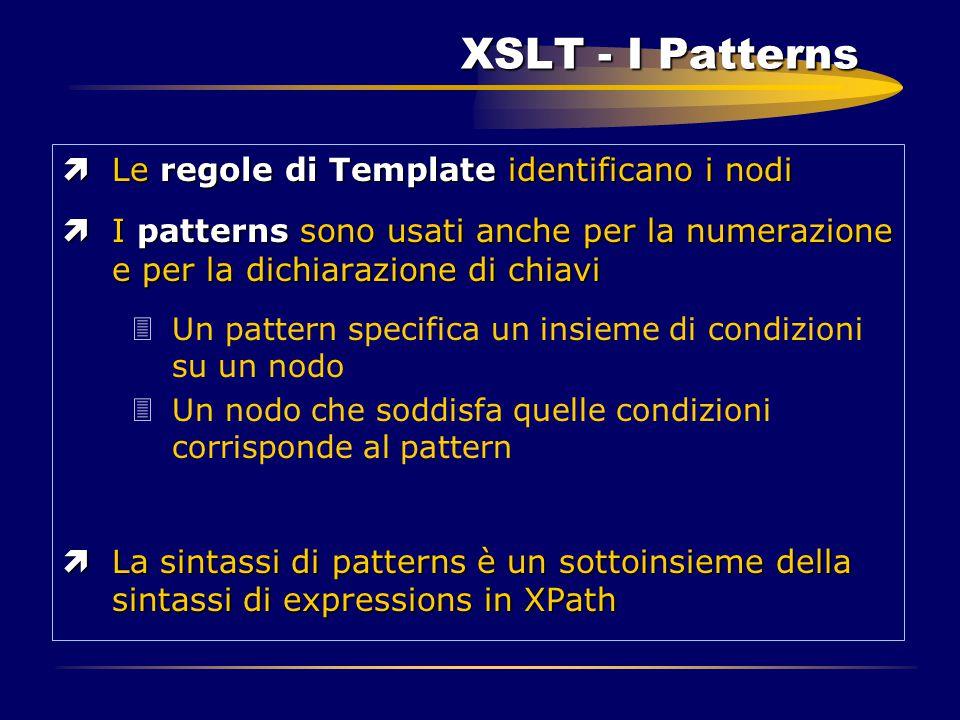 XSLT - I Patterns ìLe regole di Template identificano i nodi ìI patterns sono usati anche per la numerazione e per la dichiarazione di chiavi 3Un patt