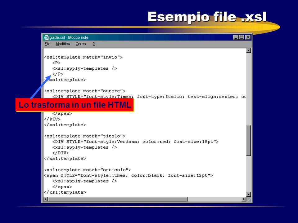 Esempio file.xsl Lo trasforma in un file HTML