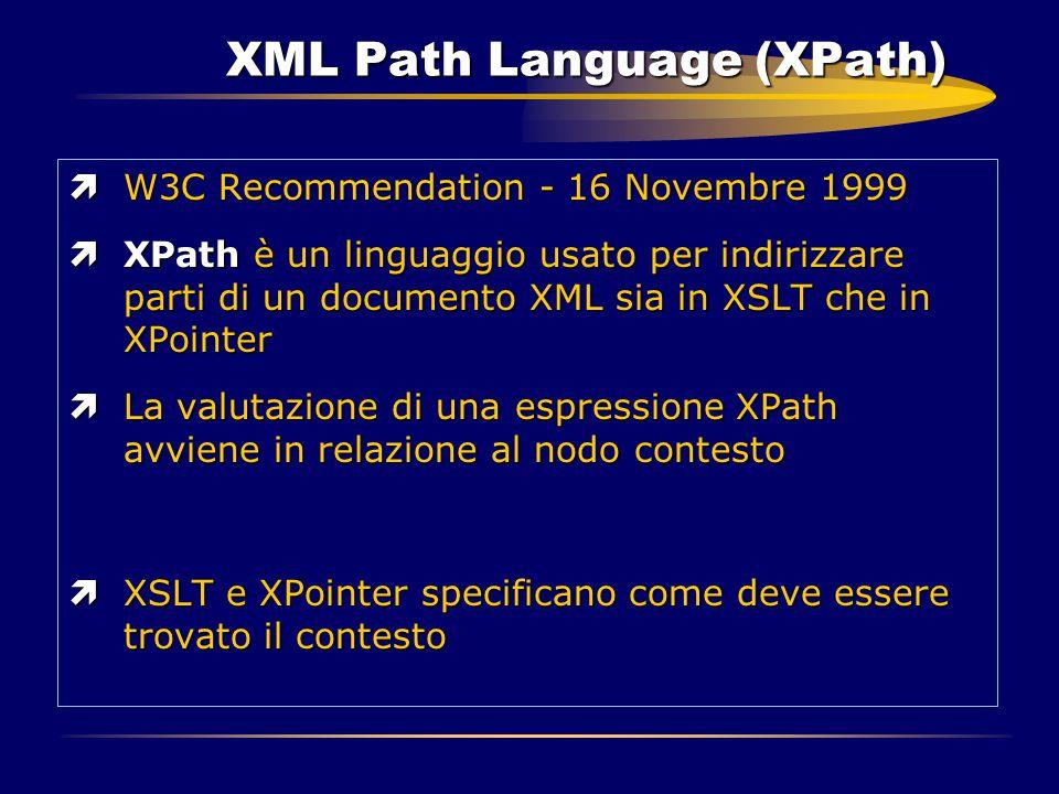 XML Path Language (XPath) ìW3C Recommendation - 16 Novembre 1999 ìXPath è un linguaggio usato per indirizzare parti di un documento XML sia in XSLT ch