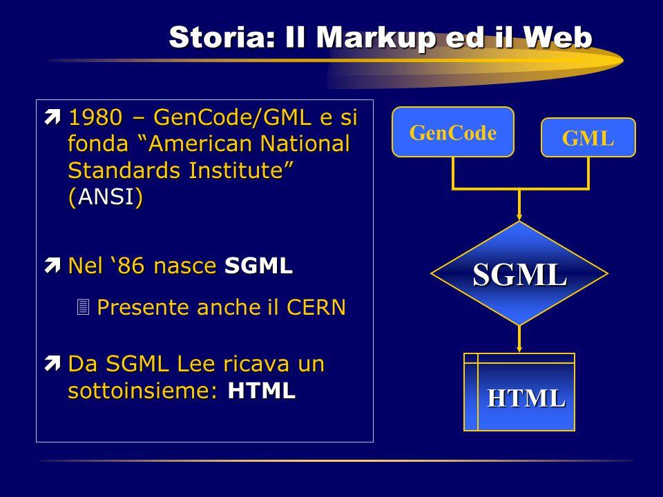 """Storia: Il Markup ed il Web ì1980 – GenCode/GML e si fonda """"American National Standards Institute"""" (ANSI) ìNel '86 nasce SGML 3Presente anche il CERN"""