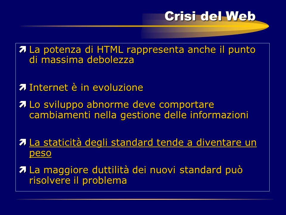 Crisi del Web ìLa potenza di HTML rappresenta anche il punto di massima debolezza ìInternet è in evoluzione ìLo sviluppo abnorme deve comportare cambi
