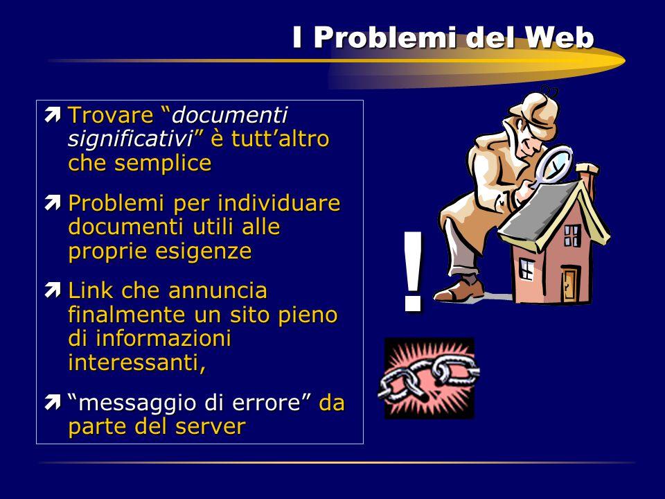 """I Problemi del Web ìTrovare """"documenti significativi"""" è tutt'altro che semplice ìProblemi per individuare documenti utili alle proprie esigenze ìLink"""