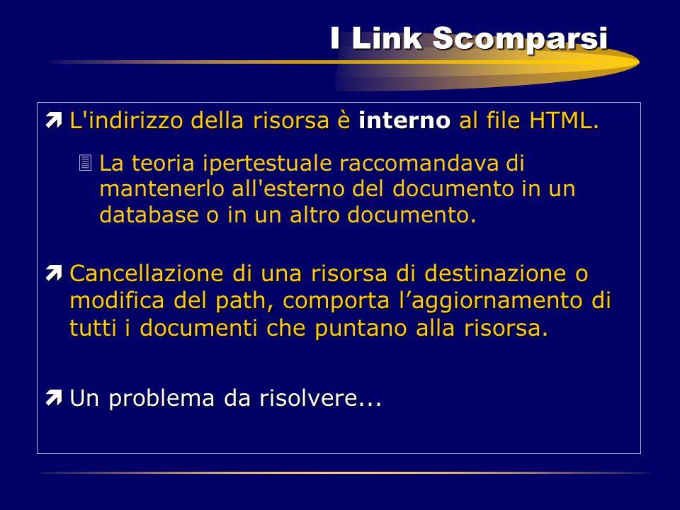 I Link Scomparsi ìL'indirizzo della risorsa è interno al file HTML. 3La teoria ipertestuale raccomandava di mantenerlo all'esterno del documento in un