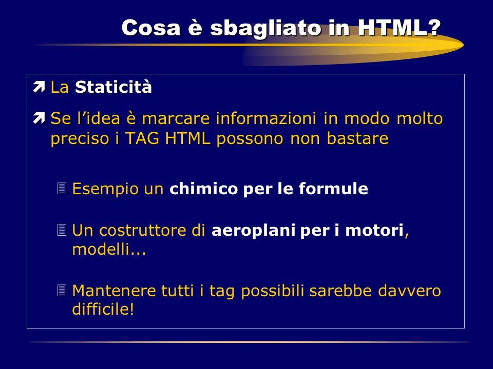 Cosa è sbagliato in HTML? ìLa Staticità ìSe l'idea è marcare informazioni in modo molto preciso i TAG HTML possono non bastare 3Esempio un chimico per