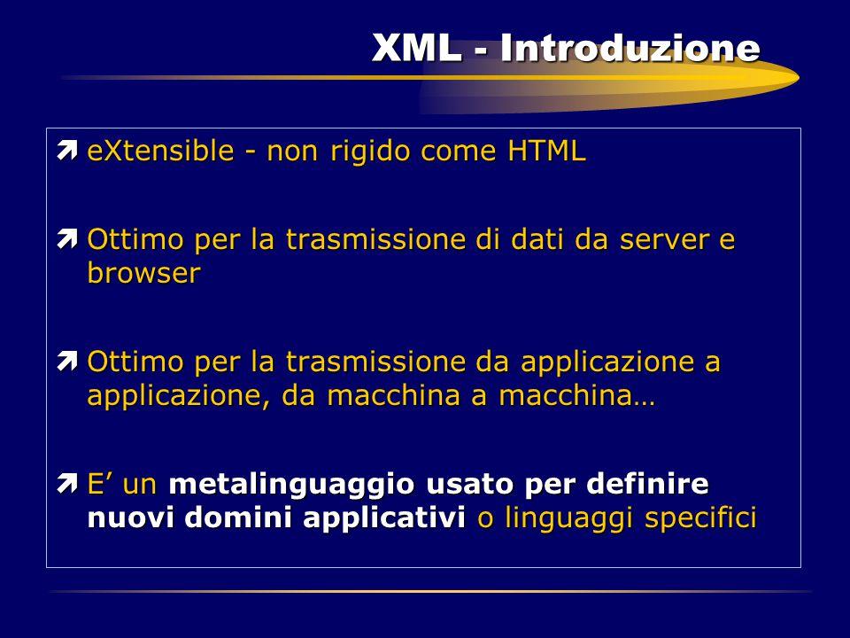 XML - Introduzione ìeXtensible - non rigido come HTML ìOttimo per la trasmissione di dati da server e browser ìOttimo per la trasmissione da applicazi
