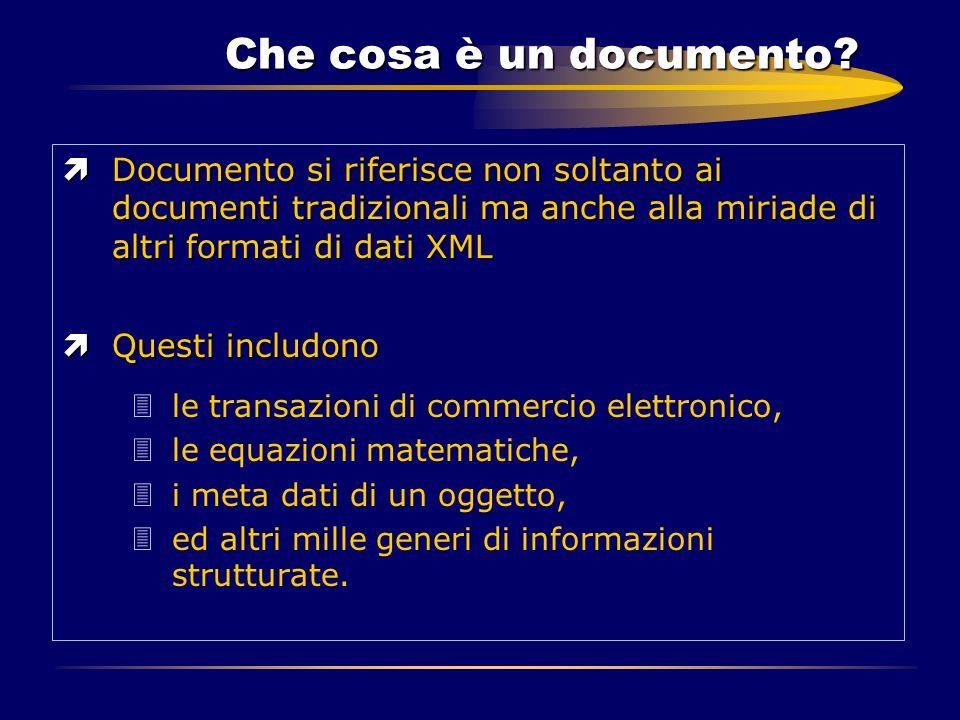 Che cosa è un documento? ìDocumento si riferisce non soltanto ai documenti tradizionali ma anche alla miriade di altri formati di dati XML ìQuesti inc