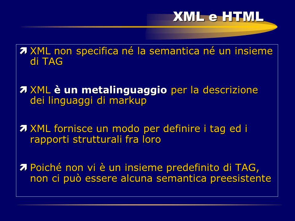 XML e HTML ìXML non specifica né la semantica né un insieme di TAG ìXML è un metalinguaggio per la descrizione dei linguaggi di markup ìXML fornisce u