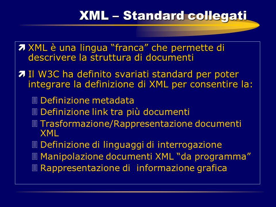 """XML – Standard collegati ìXML è una lingua """"franca"""" che permette di descrivere la struttura di documenti ìIl W3C ha definito svariati standard per pot"""