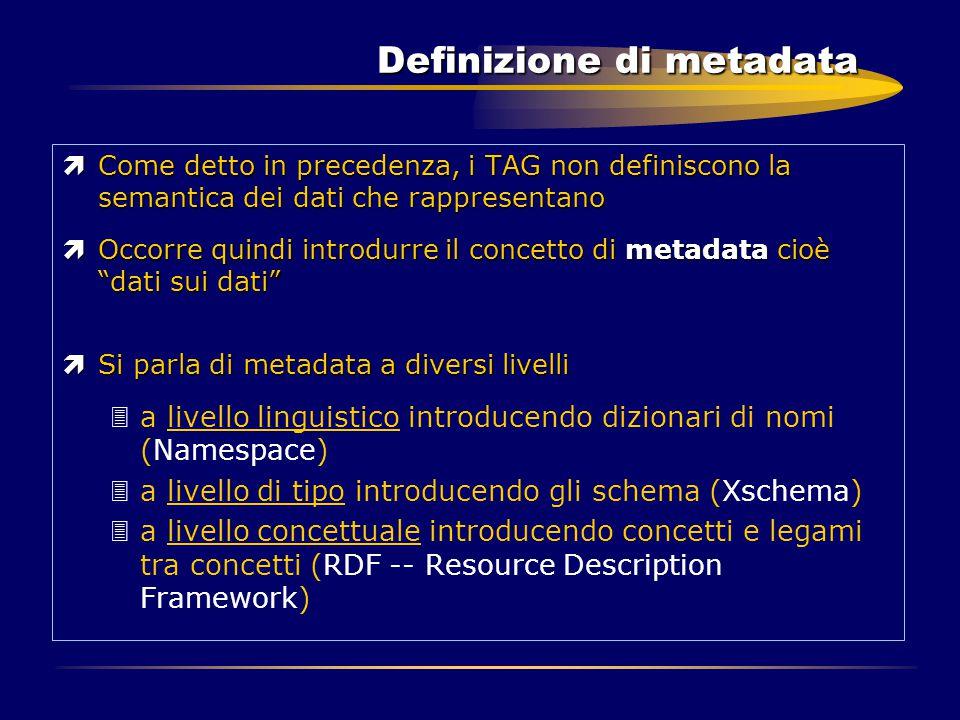 Definizione di metadata ìCome detto in precedenza, i TAG non definiscono la semantica dei dati che rappresentano ìOccorre quindi introdurre il concett