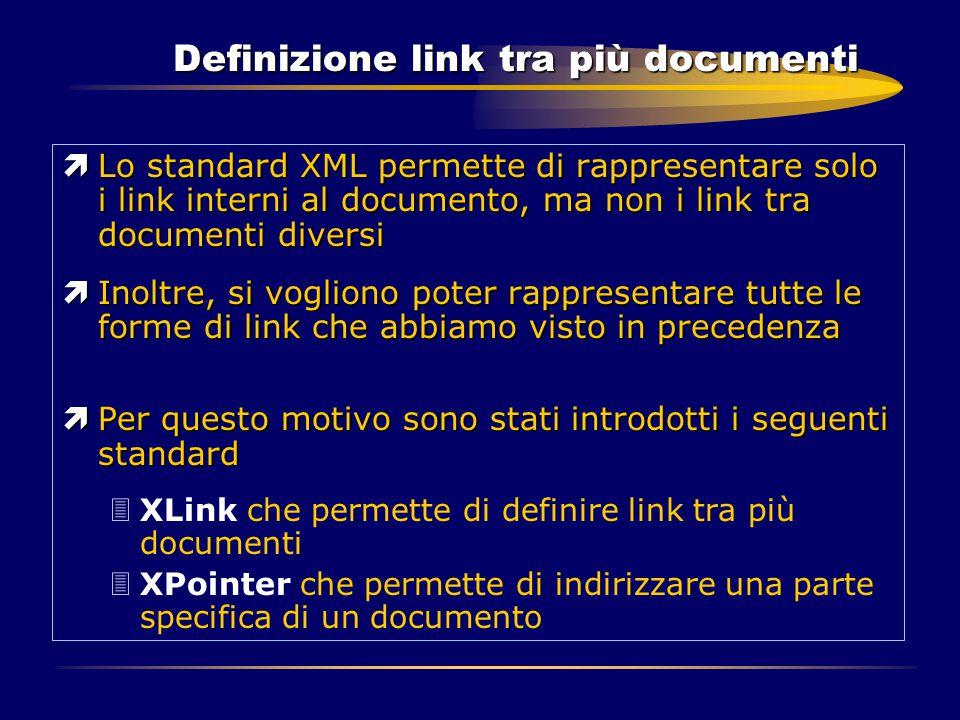 Definizione link tra più documenti ìLo standard XML permette di rappresentare solo i link interni al documento, ma non i link tra documenti diversi ìI