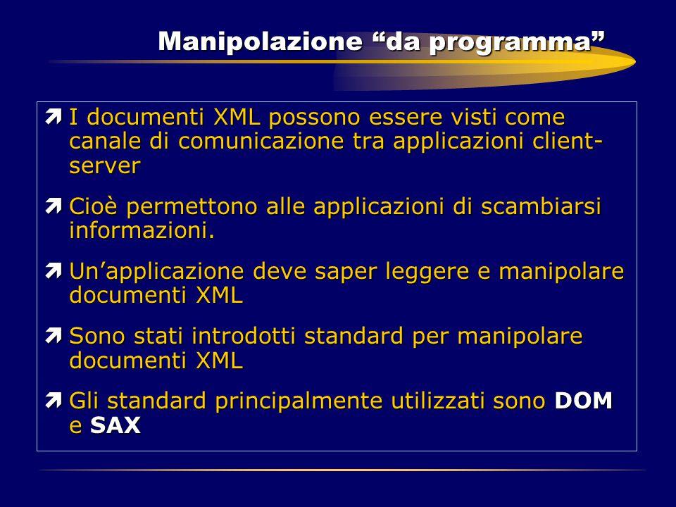 """Manipolazione """"da programma"""" ìI documenti XML possono essere visti come canale di comunicazione tra applicazioni client- server ìCioè permettono alle"""
