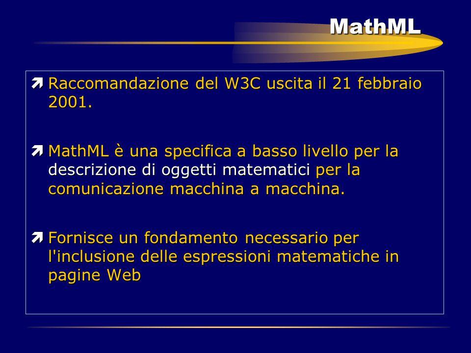 MathML ìRaccomandazione del W3C uscita il 21 febbraio 2001. ìMathML è una specifica a basso livello per la descrizione di oggetti matematici per la co