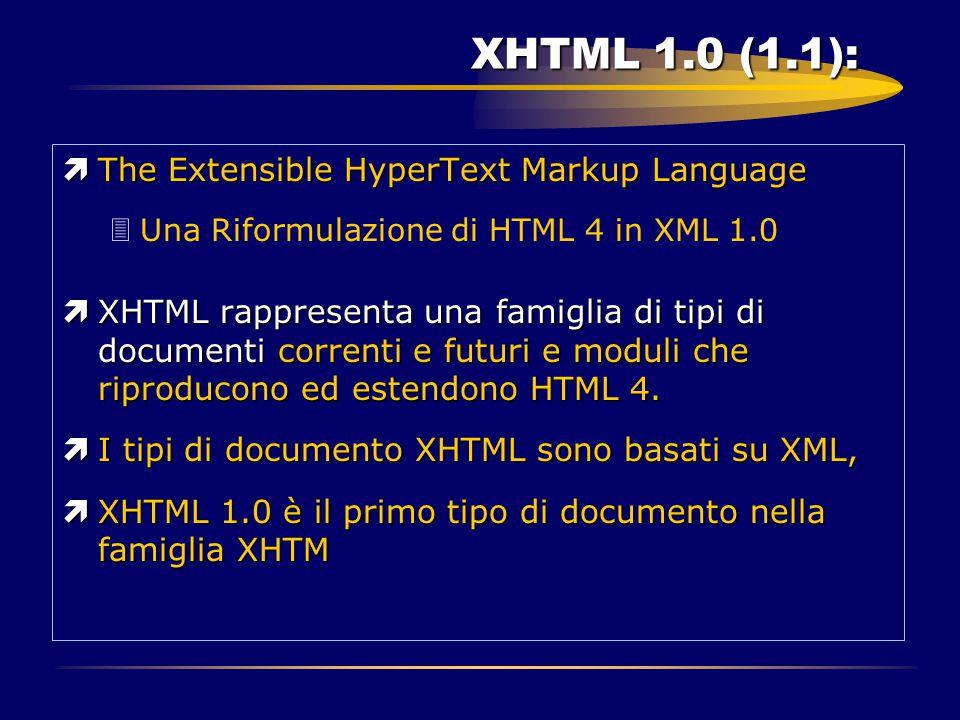 XHTML 1.0 (1.1): ìThe Extensible HyperText Markup Language 3Una Riformulazione di HTML 4 in XML 1.0 ìXHTML rappresenta una famiglia di tipi di documen