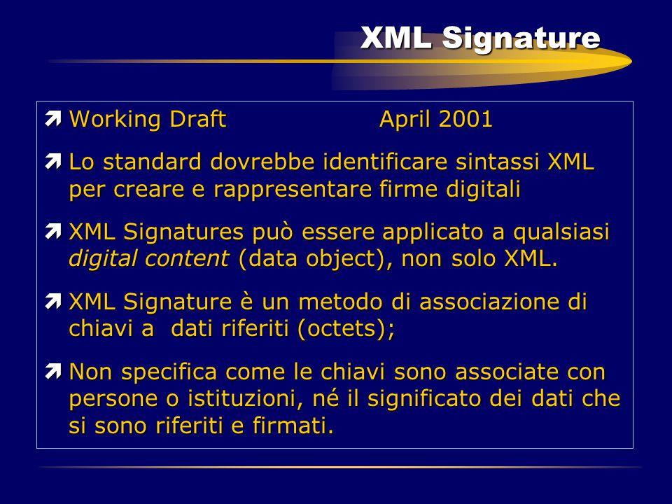 XML Signature ìWorking Draft April 2001 ìLo standard dovrebbe identificare sintassi XML per creare e rappresentare firme digitali ìXML Signatures può