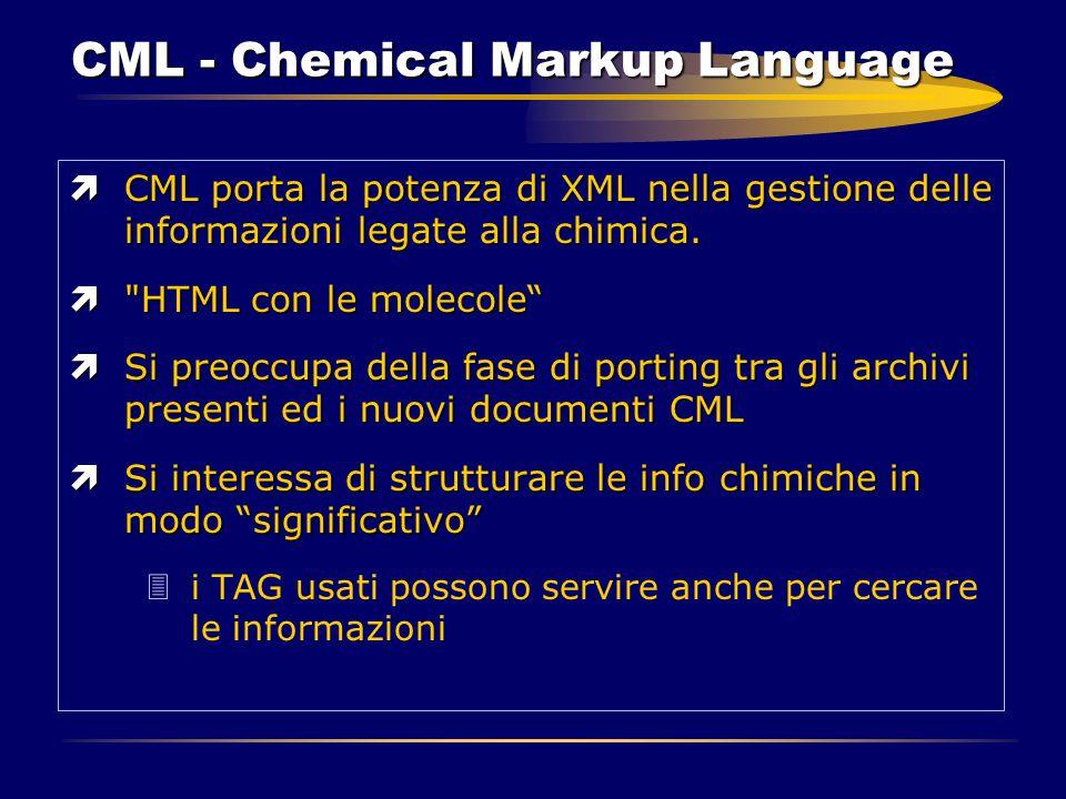 CML - Chemical Markup Language ìCML porta la potenza di XML nella gestione delle informazioni legate alla chimica. ì