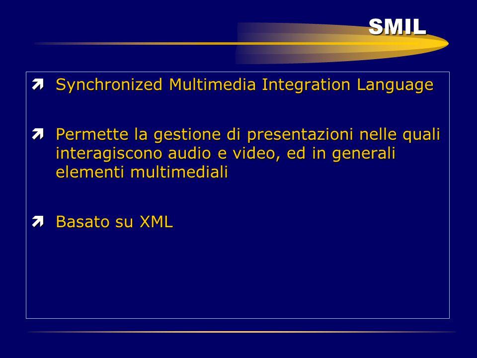SMIL ìSynchronized Multimedia Integration Language ìPermette la gestione di presentazioni nelle quali interagiscono audio e video, ed in generali elem