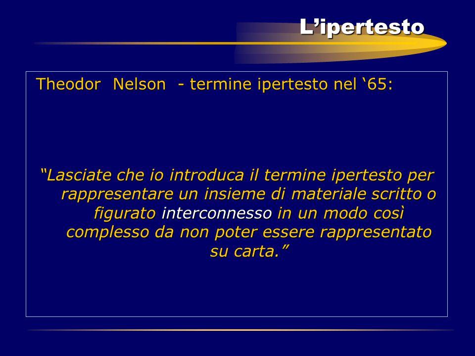 "L'ipertesto Theodor Nelson - termine ipertesto nel '65: Theodor Nelson - termine ipertesto nel '65: ""Lasciate che io introduca il termine ipertesto pe"
