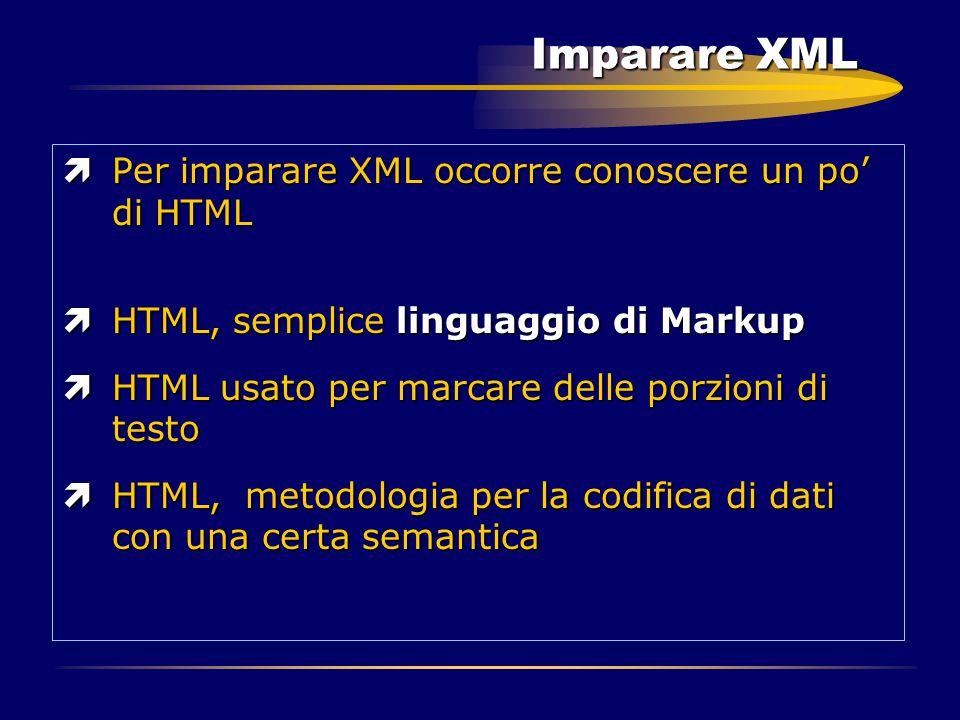 Imparare XML ìPer imparare XML occorre conoscere un po' di HTML ìHTML, semplice linguaggio di Markup ìHTML usato per marcare delle porzioni di testo ì