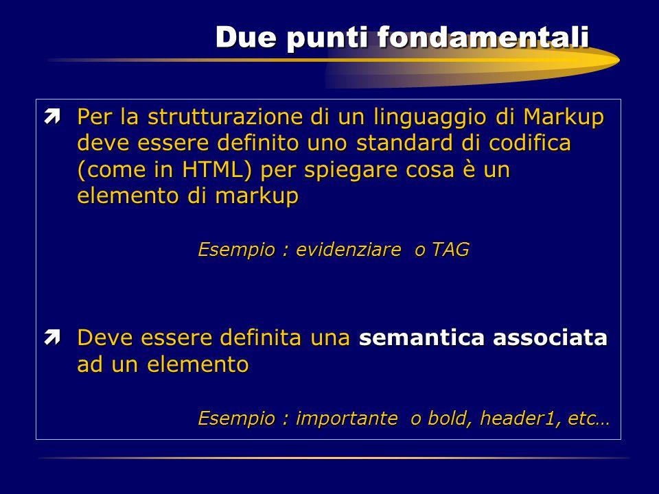 Due punti fondamentali ìPer la strutturazione di un linguaggio di Markup deve essere definito uno standard di codifica (come in HTML) per spiegare cos