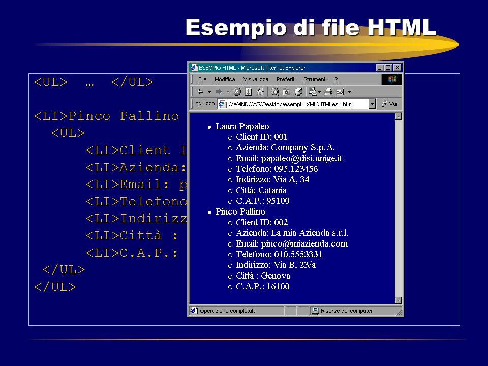 Esempio di file HTML … … Pinco Pallino Pinco Pallino Client ID: 002 Client ID: 002 Azienda: La mia Azienda s.r.l. Azienda: La mia Azienda s.r.l. Email