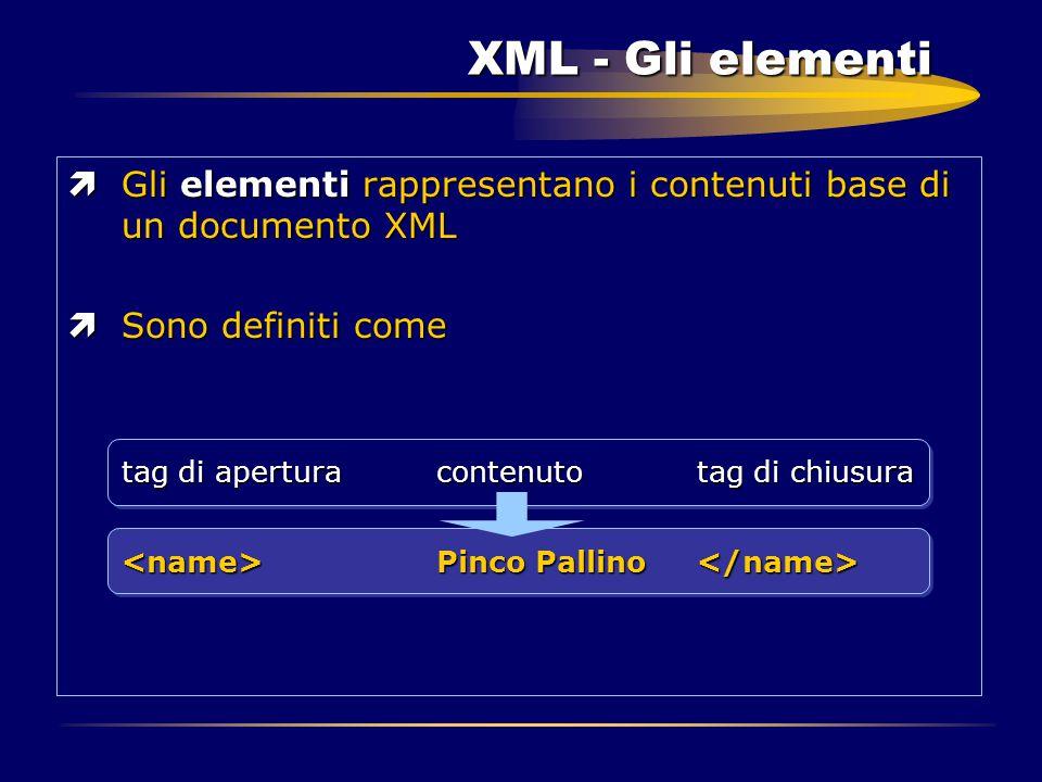 XML - Gli elementi ìGli elementi rappresentano i contenuti base di un documento XML ìSono definiti come tag di apertura contenuto tag di chiusura Pinc