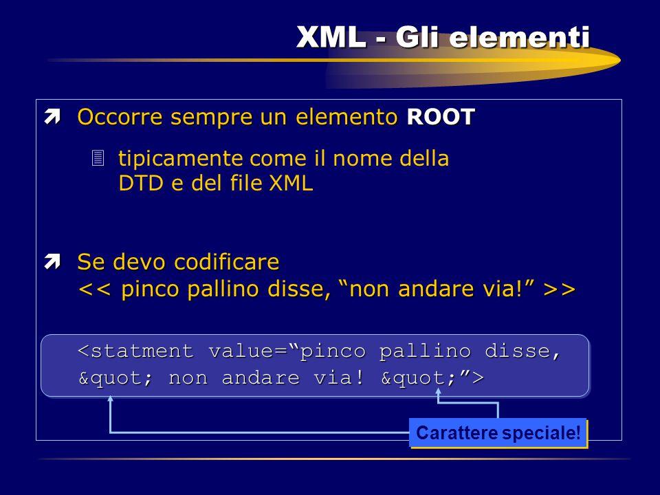 XML - Gli elementi ìOccorre sempre un elemento ROOT 3tipicamente come il nome della DTD e del file XML ìSe devo codificare > Carattere speciale!