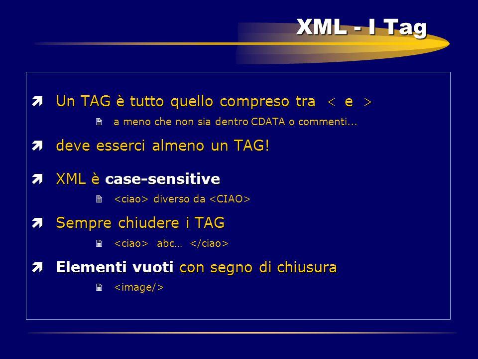 XML - I Tag  Un TAG è tutto quello compreso tra  Un TAG è tutto quello compreso tra 2a meno che non sia dentro CDATA o commenti... ìdeve esserci alm