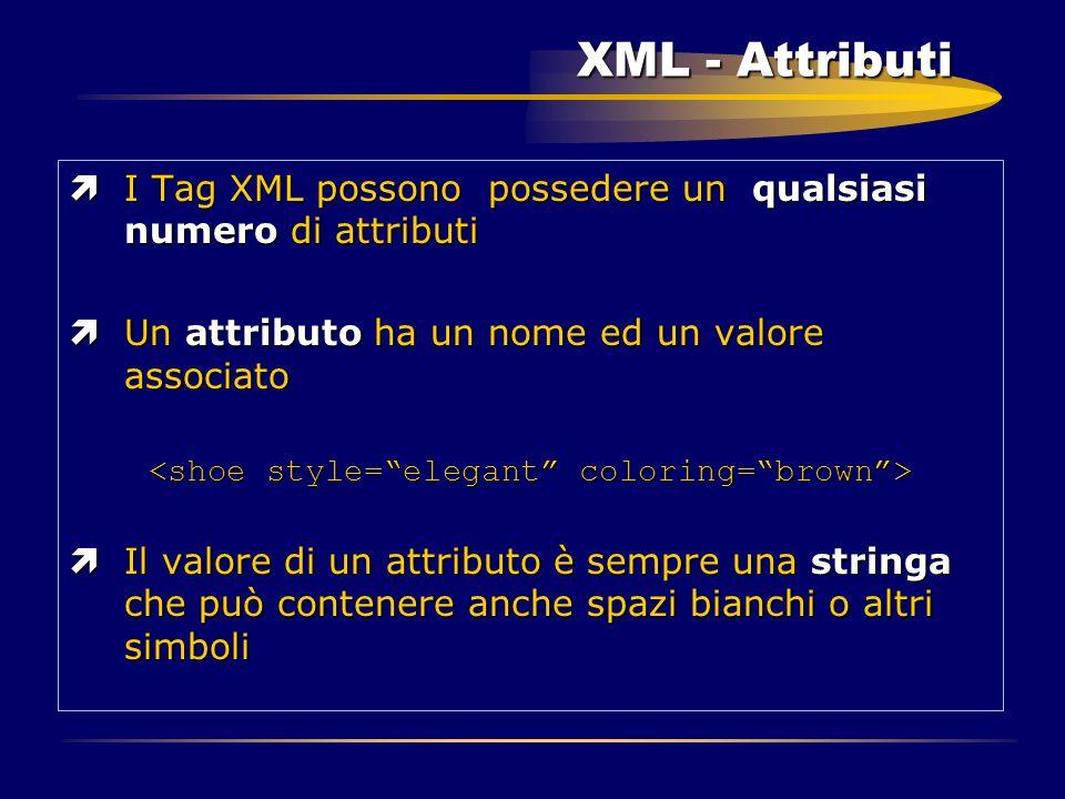 XML - Attributi ìI Tag XML possono possedere un qualsiasi numero di attributi ìUn attributo ha un nome ed un valore associato ìIl valore di un attribu