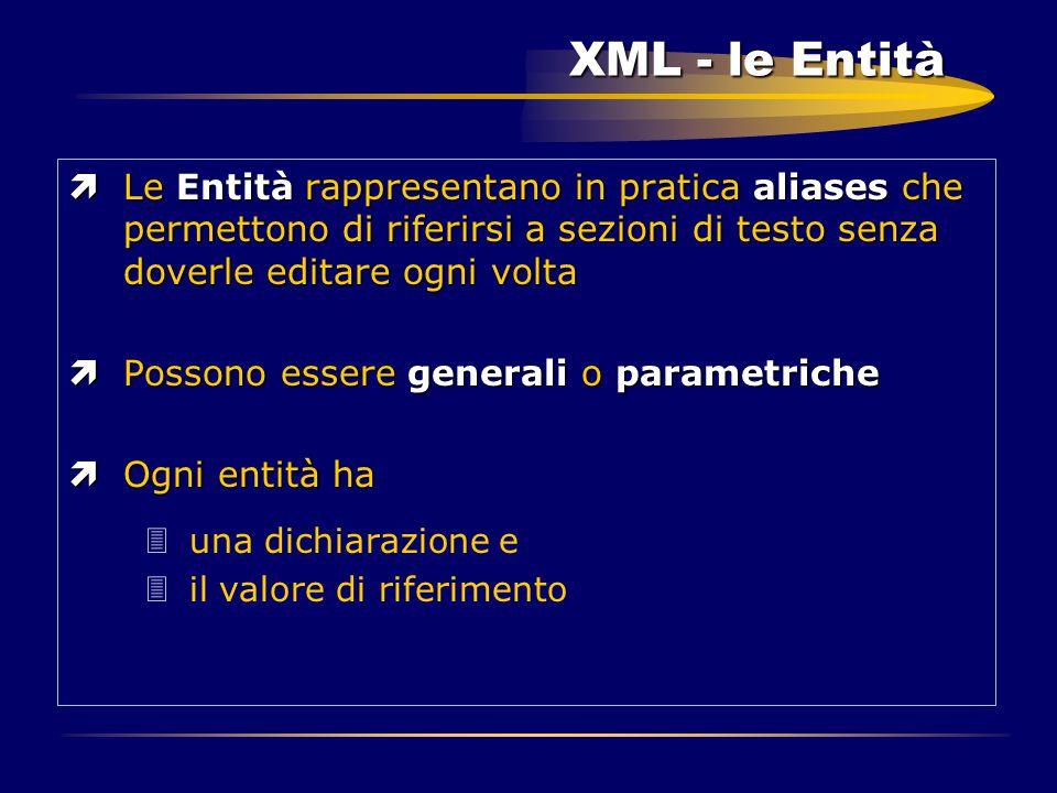 XML - le Entità ìLe Entità rappresentano in pratica aliases che permettono di riferirsi a sezioni di testo senza doverle editare ogni volta ìPossono e