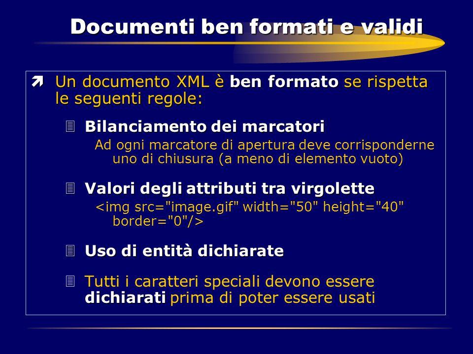 Documenti ben formati e validi ìUn documento XML è ben formato se rispetta le seguenti regole: 3Bilanciamento dei marcatori Ad ogni marcatore di apert