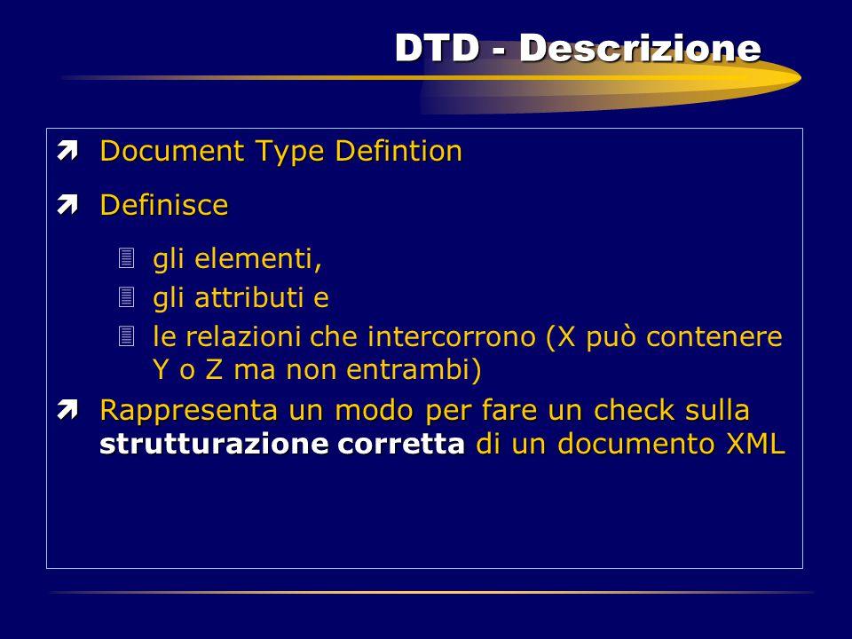 DTD - Descrizione ìDocument Type Defintion ìDefinisce 3gli elementi, 3gli attributi e 3le relazioni che intercorrono (X può contenere Y o Z ma non ent