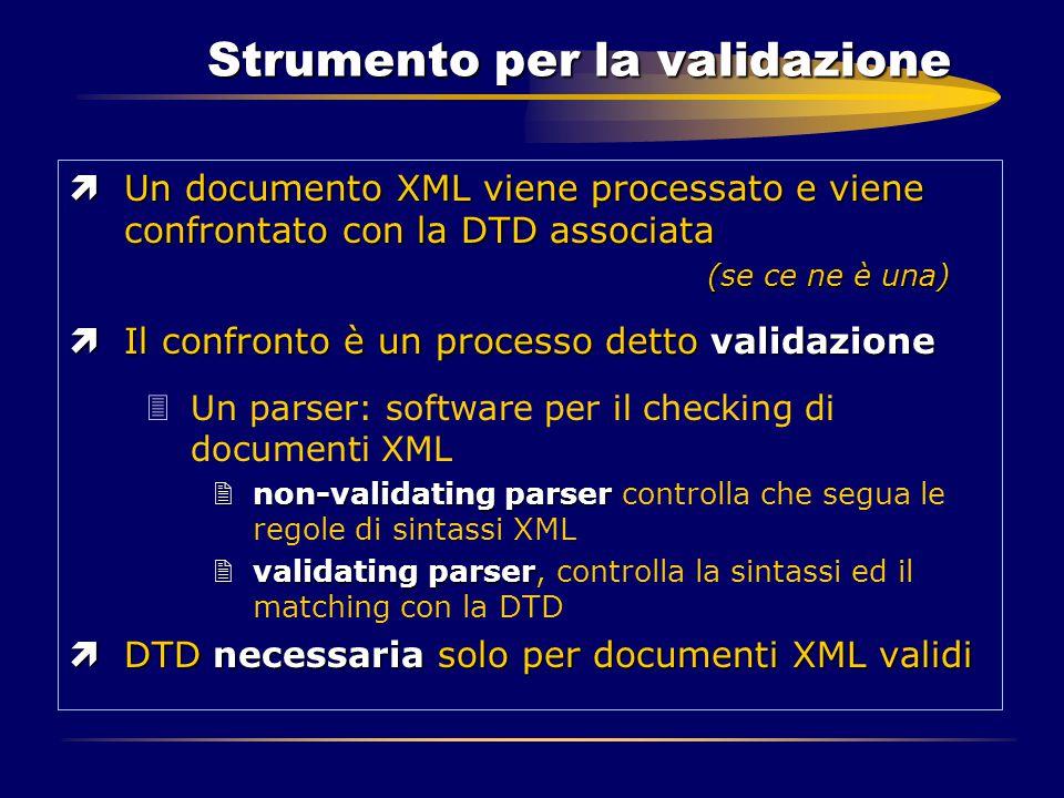 Strumento per la validazione ìUn documento XML viene processato e viene confrontato con la DTD associata (se ce ne è una) ìIl confronto è un processo