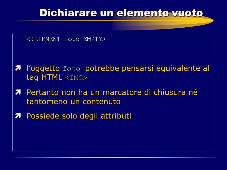 Dichiarare un elemento vuoto  l'oggetto foto potrebbe pensarsi equivalente al tag HTML  l'oggetto foto potrebbe pensarsi equivalente al tag HTML ìPe