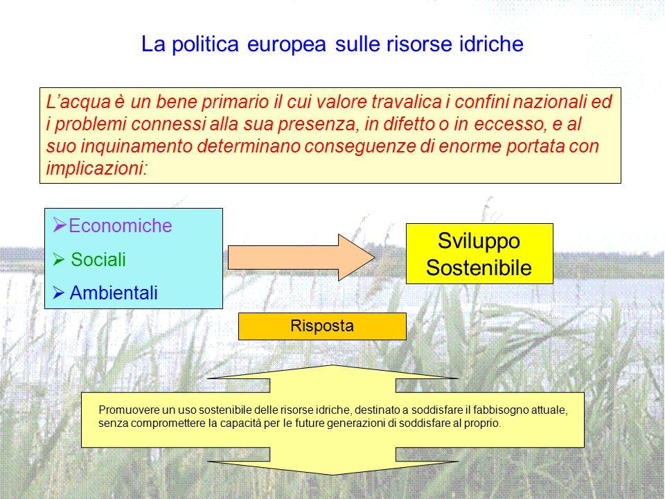 La politica europea sulle risorse idriche  Economiche  Sociali  Ambientali L'acqua è un bene primario il cui valore travalica i confini nazionali e