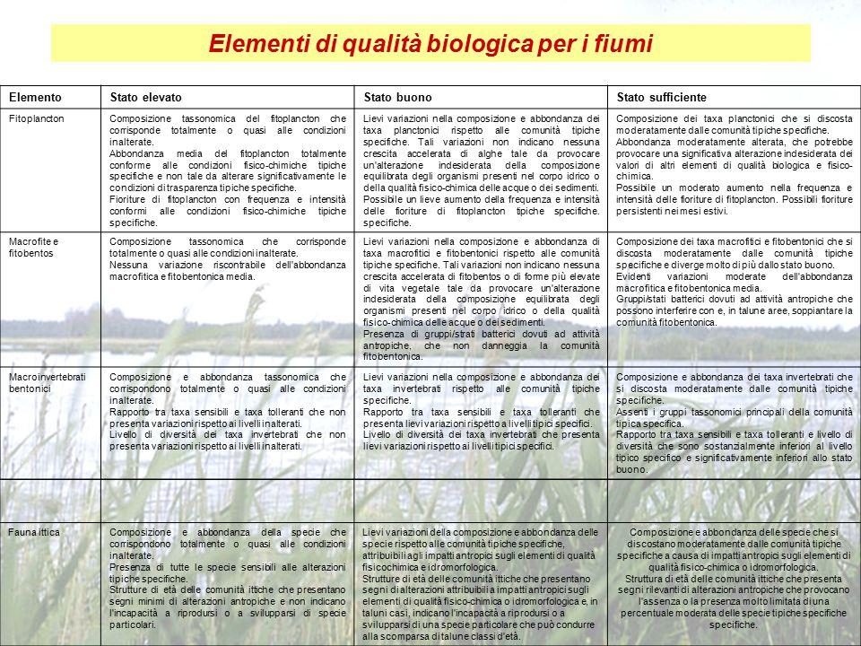 Elementi di qualità biologica per i fiumi ElementoStato elevatoStato buonoStato sufficiente FitoplanctonComposizione tassonomica del fitoplancton che corrisponde totalmente o quasi alle condizioni inalterate.